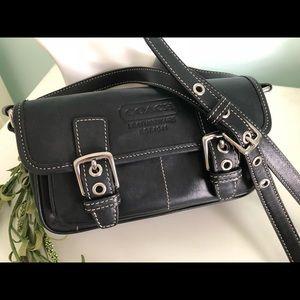 COACH Black Leather Crossbody Shoulder Bag #9355